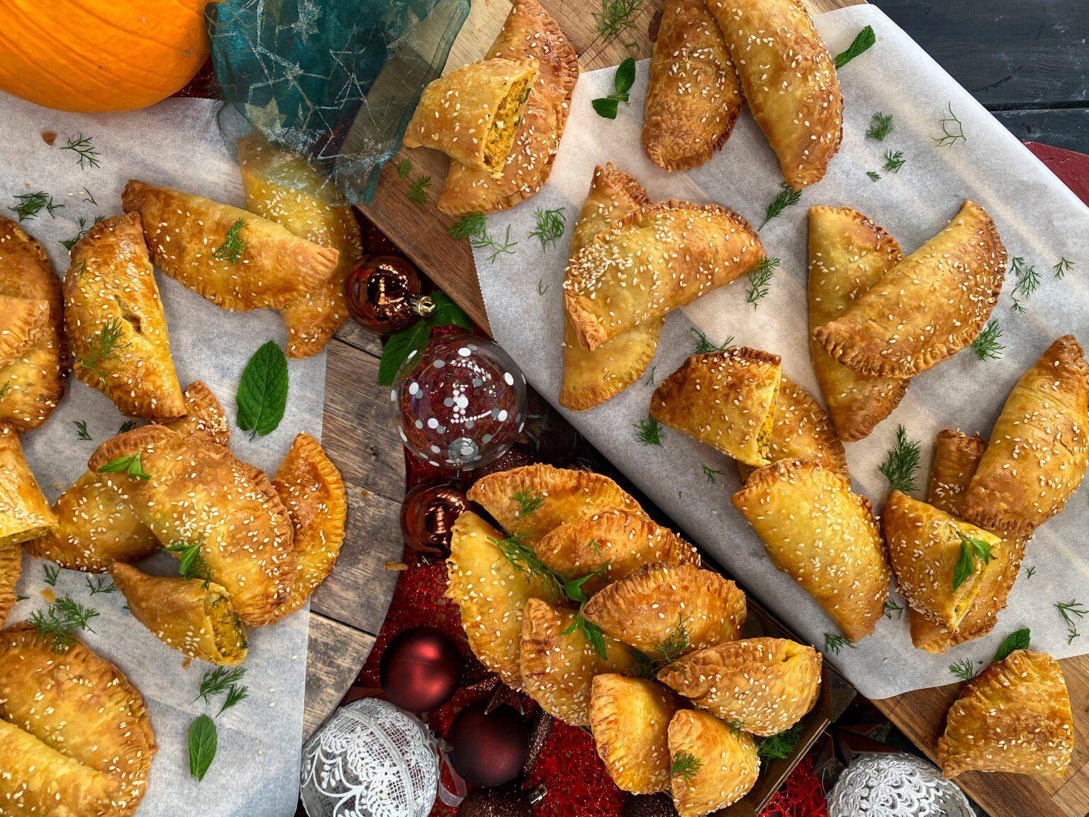Πιτάκια Κουρού με Ψητή Κολοκύθα, Φέτα και Μυρωδικά