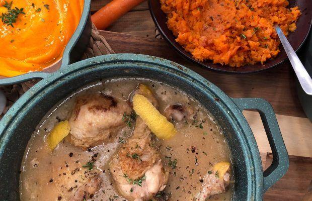 Λεμονάτο κοτόπουλο με πουρέ καρότου