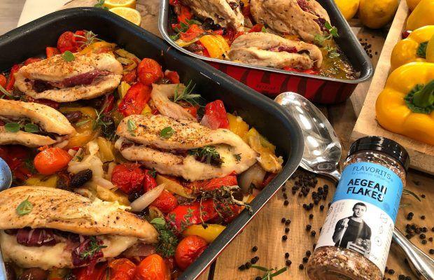 κοτόποθλο καισαρείας με λαχανικά στο φούρνο