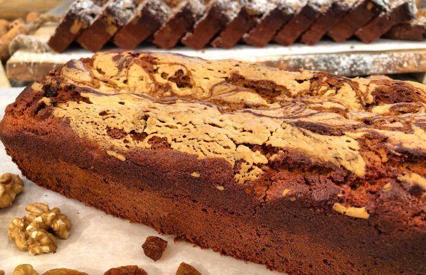 Νηστίσιμο κέικ με ταχίνι και καφέ