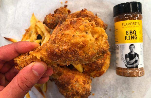 Τραγανό κοτόπουλο με μπαχαρικά και Πατάτες σαν τηγανιτές