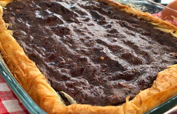 Σοκολατένια Γαλατόπιτα με φύλλο Κρούστας και Φουντούκια