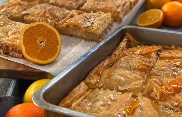 Γαλακτομπούρεκο με Κρέμα Χαλβά και Πορτοκάλι