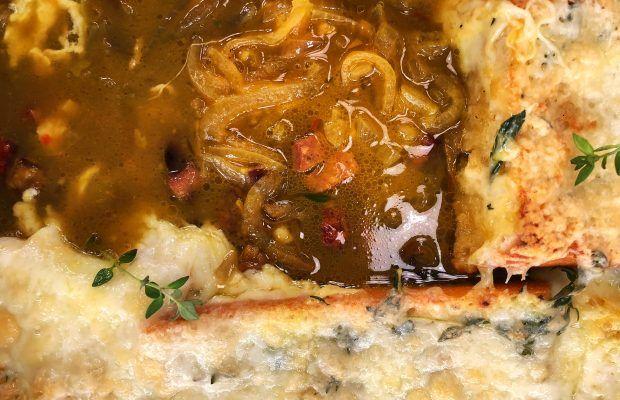 Κρεμμυδόσουπα με Μοσχαρίσιο Λουκάνικο, Κουρκουμά κα Τυρένιο ψωμί | Λάμπρος Βακιάρος