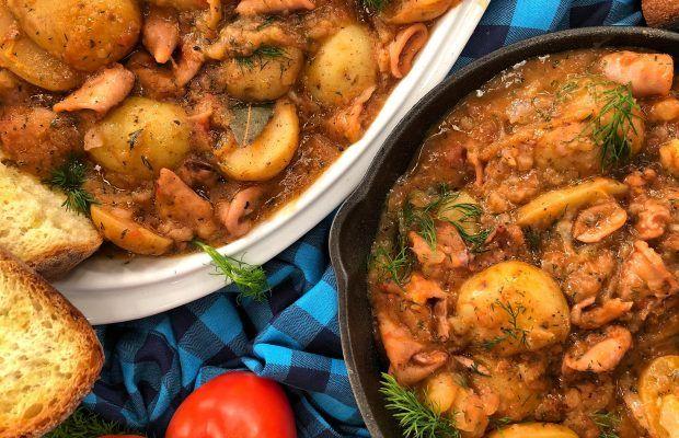 Καλαμάρια με Πατάτες Γιαχνί | Λάμπρος Βακιάρος