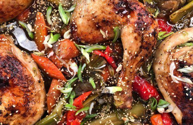 Γλυκόξινο Κοτόπουλο στο Φούρνο με Λαχανικά | Λάμπρος Βακιάρος