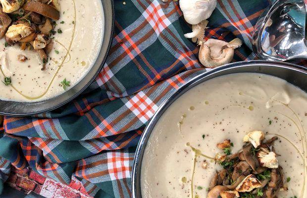 Σούπα Βελουτέ με Κουνουπίδι και σωτέ Μανιτάρια | Λάμπρος Βακιάρος