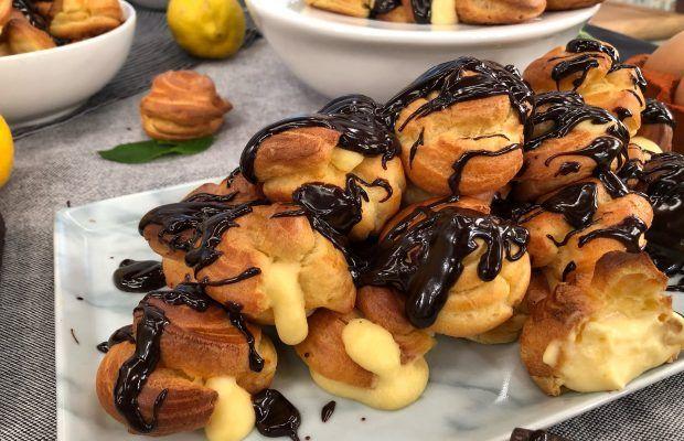 Προφιτερόλ με Λεμονάτη Κρέμα και Σοκολάτα | Λάμπρος Βακιάρος