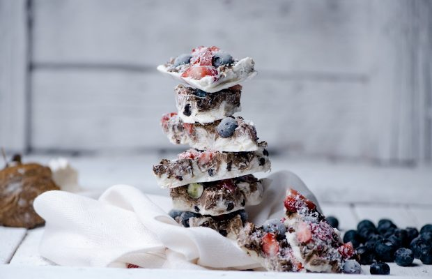 frozen yogurt berries chocolate barks